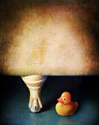Bath Time Prints - Rubber Ducky and Claw Foot Tub Print by Jill Battaglia