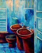 Toilet Painting Originals - Rubber Gloves by Art Nomad Sandra  Hansen