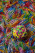 Supplies Posters - Rubberband ball and paperclips Poster by Garry Gay