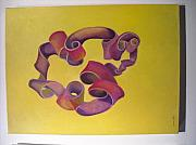 Abstract Realism Paintings - Rubberband Number One by Martha Zausmer paul