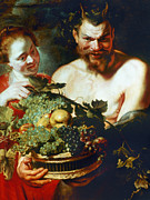 Faun Painting Posters - Rubens: Faun And Nymph Poster by Granger