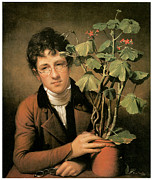 Young Man Framed Prints - Rubens Peale with a Geranium Framed Print by Rembrandt Peale