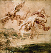 Rubens:fall Of Icarus 1637 Print by Granger