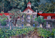 Wine Country. Painting Prints - Rubicon Estate Winery Napa Valley  Print by Gail Chandler