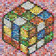 Stamps Digital Art - Rubik with stamps by Gilberto Viciedo