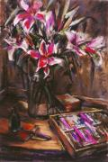 Impressionistic Painting Originals - Rubirosa Lilies by Joan  Jones
