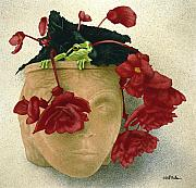 Frog Paintings - Ruby begonia... by Will Bullas