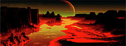 Digitally Generated Image Art - Ruby Dawn Panorama Digitally Generated by Raj Kamal