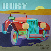 Vintage Fords Posters - Ruby Ford Roadster Poster by Evie Cook