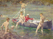 Row Boat Framed Prints - Ruby Gold and Malachite Framed Print by Henry Scott Tuke