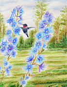 Blue Flowers Paintings - Ruby Hummer and Blue Delphiniums II by Kathryn Duncan