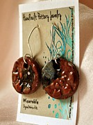 Whimsical Art Ceramics - Ruby Pottery Earrings by Amanda  Sanford