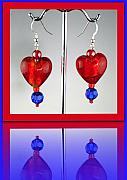 Valentine Jewelry - Ruby Red and Cobalt on Sterling wires by Cheryl Brumfield Knox
