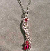Futuristic Jewelry - Ruby Swarovski Crystal Twisted Teardrop and Silver Pendant by Heather Jordan