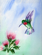 Hummingbird Paintings - Ruby Throated Hummingbird by Doris Blessington