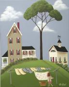 Naive Paintings - Rubys Boarding House by Catherine Holman