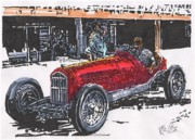 Rudolph Drawings Prints - Rudolph Caracciola Alfa Grand Prix of Italy at Monza Print by Paul Guyer