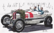Mercedes Automobile Drawings - Rudolph Caracciola Mercedes German Grand Prix by Paul Guyer