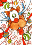 Rudolph Drawings Prints - Rudolph the Red Nose Deer Print by Luis Peres