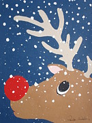 Rudolph Mixed Media Prints - Rudolph The Red Nosed Reindeer Print by Paula Weber