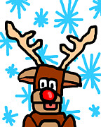Rudolph Digital Art Prints - Rudolphs Portrait Print by Jera Sky