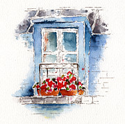 Balcony Painting Framed Prints - Rue Bernardine Window Framed Print by Pat Katz
