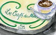 Outdoor Cafe Paintings - Rue Cler Cafe by Sheryl Heatherly Hawkins