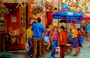 Cafescenes Paintings - Rue De La Commune Montreal by Carole Spandau