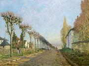 Road Paintings - Rue de la Machine Louveciennes by Alfred Sisley