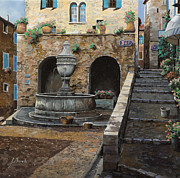Fountain Paintings - Rue du Bresc a St Paul de Vence by Guido Borelli