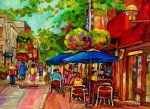 Montreal Sidewalk Terraces Acrylic Prints - Rue Prince Arthur Montreal Acrylic Print by Carole Spandau