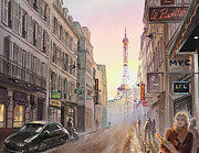 Eiffel Tower Paintings - Rue Saint Dominique Paris France View On Eiffel Tower Sunset by Irina Sztukowski
