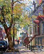 Montreal Painting Framed Prints - Rue St Denis Montreal Framed Print by Roelof Rossouw
