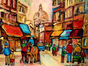 Montreal Restaurants Paintings - Rue St Jacques Old Montreal Streets  by Carole Spandau
