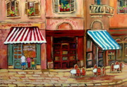 Cafescenes Paintings - Rue St Paul Montreal by Carole Spandau