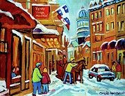 Cafescenes Paintings - Rue St Paul Montreal Streetscene Cafes And Caleche by Carole Spandau