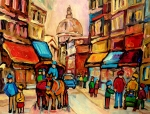 Montreal Street Life Painting Prints - Rue St. Paul Old Montreal Streetscene Print by Carole Spandau