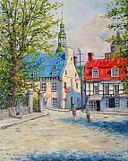 Quebec Streets Painting Framed Prints - Rue Ste Anne 1965 Framed Print by Richard T Pranke