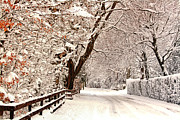United Kingdom Greeting Cards Posters - Ruff Lane Ormskirk Snow Scene Poster by Liam Liberty