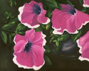 Cut Flowers Paintings - Ruffled Petunias by Carol Sweetwood
