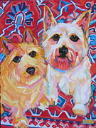 Custom Dog Portrait Paintings - Rufus and Peaches by Sarah Gayle Carter