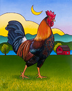 Birds Painting Posters - Rufus the Rooster Poster by Stacey Neumiller