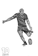 Blacks Drawings Framed Prints - Rugby - Dan carter Framed Print by Abigail Fleetwood