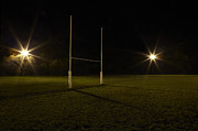 Rugby Photos - Rugby Field At Night by Tom Roberton
