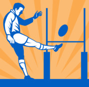 Run Digital Art Metal Prints - Rugby Goal Kick Metal Print by Aloysius Patrimonio