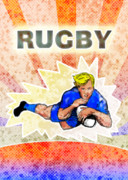 Rugby Digital Art Prints - Rugby player diving to score a try Print by Aloysius Patrimonio