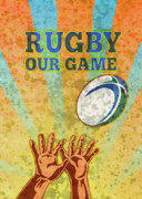 Player Posters - Rugby Player Hands Catching Ball Poster by Aloysius Patrimonio