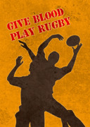 Catching Digital Art Prints - Rugby Player Jumping Catching Ball In Lineout Print by Aloysius Patrimonio