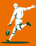 Rugby Union Metal Prints - Rugby Player Kicking Metal Print by Aloysius Patrimonio