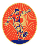 Woodcut Metal Prints - Rugby Player Kicking Ball Woodcut Metal Print by Aloysius Patrimonio